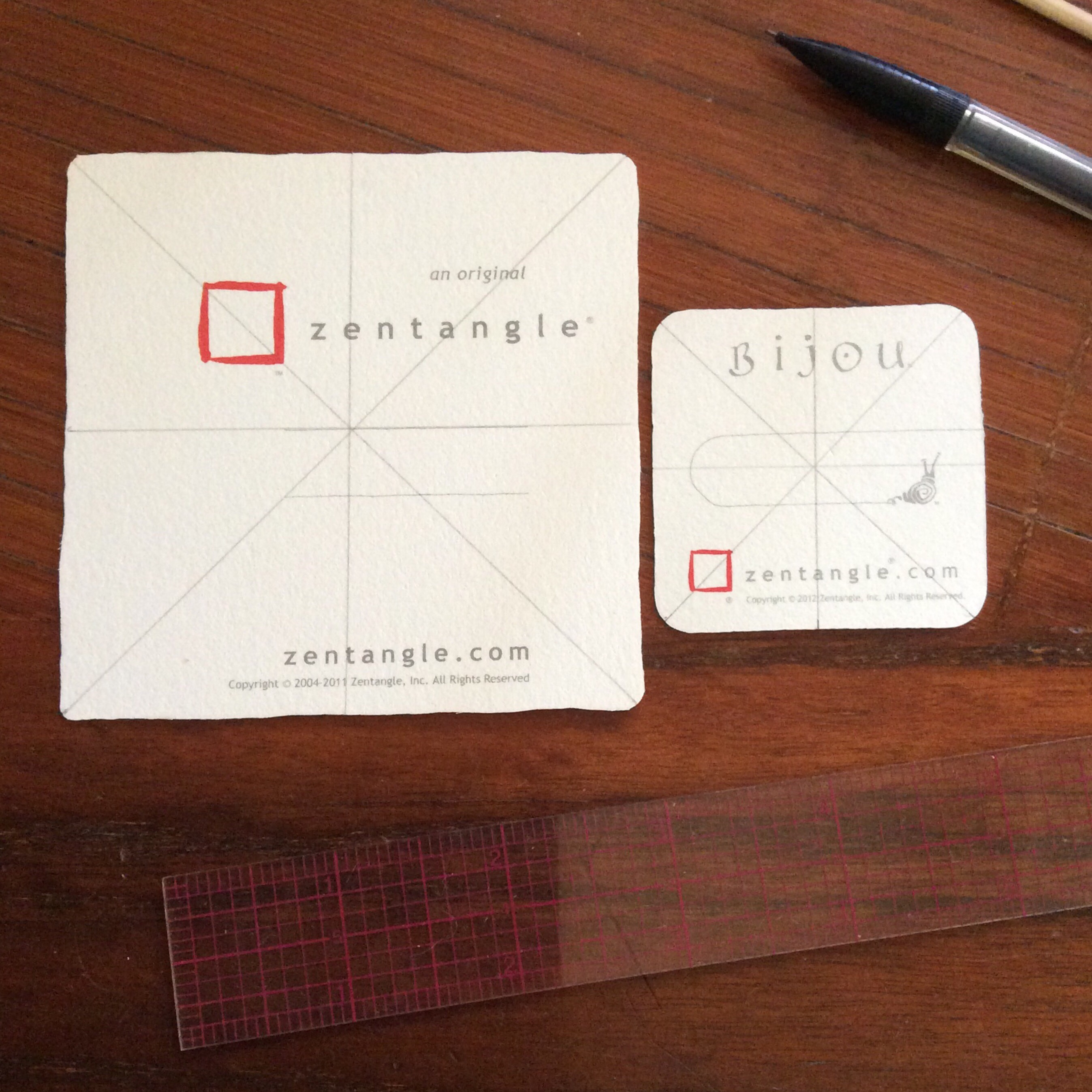 mark centers and diagonals - Square Business Card Holder